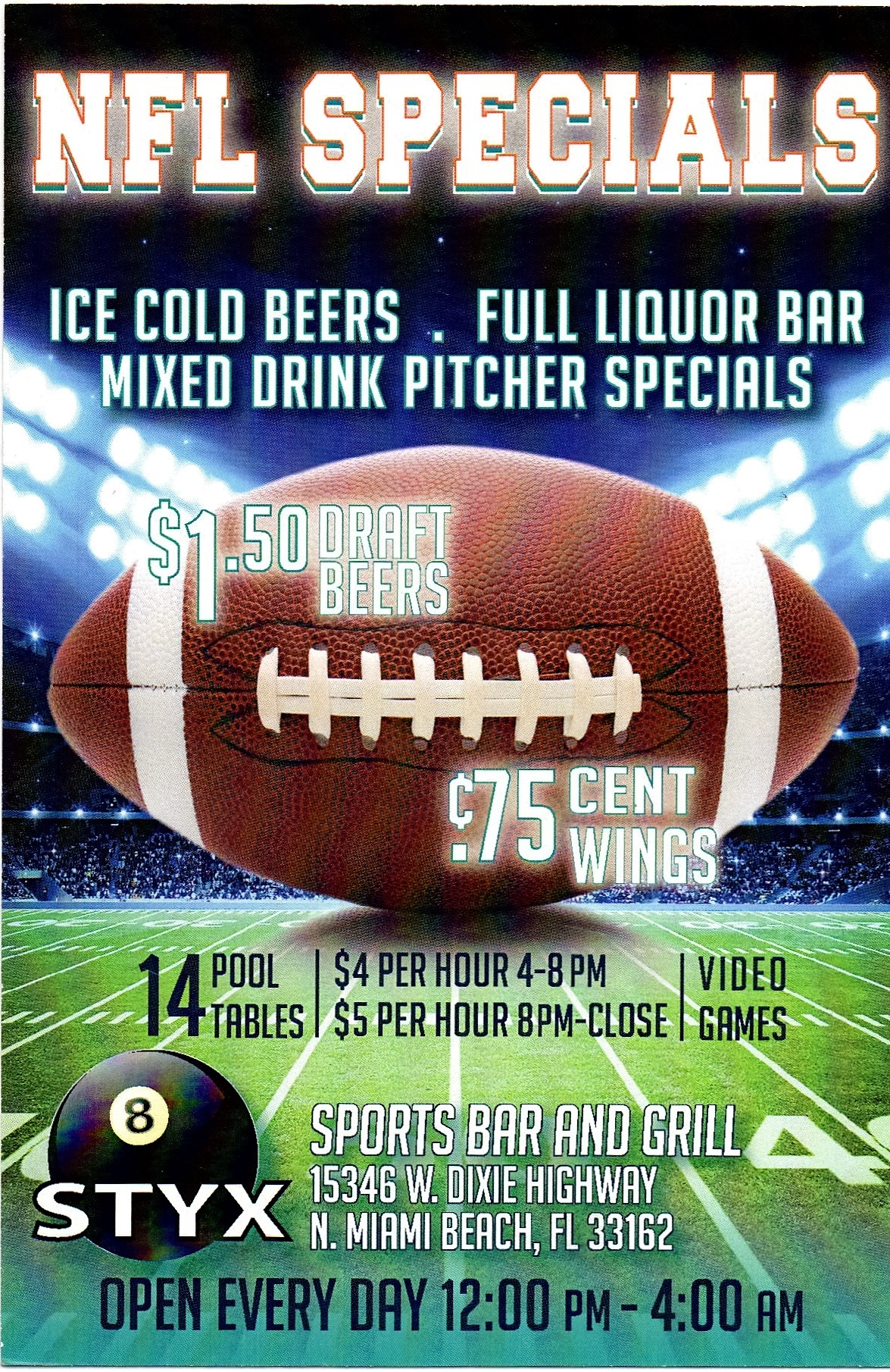 Football Season Drink and Food Specials
