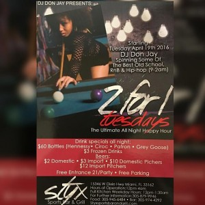 2 for 1 Tuesdays Styx Sports Bar and Grill